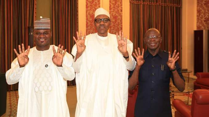 Oshiohmole takes re-elected Yahaya Bello to Buhari at Aso Rock