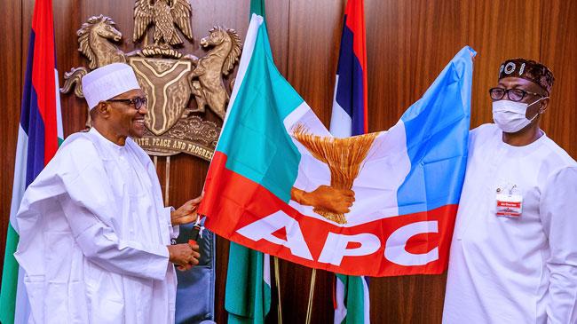 President Muhammadu President Muhammadu Buhari presents party flag and endorses Pastor Osagie Ize Iyamu as APC governorship candidate on Friday August 7, 2020 at the Presidential Villa, Abuja