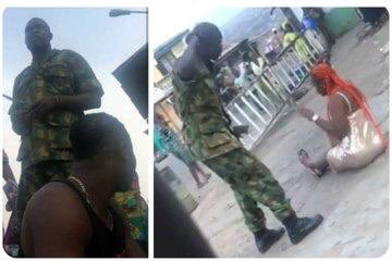 #EndSARS: Nigerian soldiers flog woman for indecent dressing, barber youth's hair in Ibadan