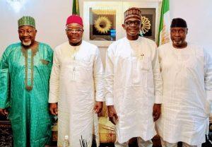 Left to Right Jigawa Governor, Abubakar Badaru, Lt.Gen. Ihejirika, APC Caretaker and Extra-ordinary Convention Planning Committee Chairman Gov. Mai Mala Buni and Hon. Farouk Adamu Aliyu on Friday in Abuja.