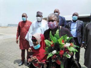 Reception of Dr Ngozi Okonjo-Iweala, WTO D-G at the Nnamdi Azikiwe International Airport Abuja by Dr Nasir Sani-Gwarzo, Permanent Secretary, FMITI