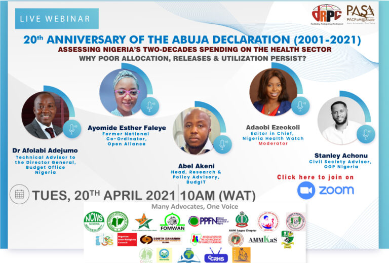 PACFah@Scale organises webinar to mark 20th anniversary of Abuja Declaration on 15% healthcare budget