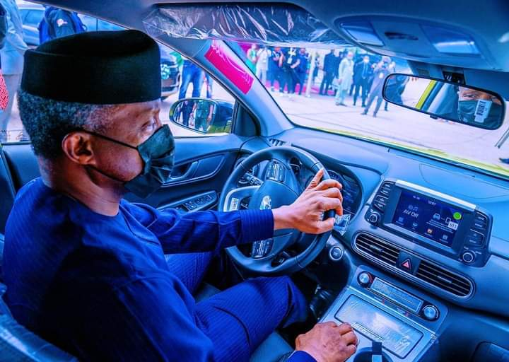 Osinbajo test drives Nigeria-assembled electric car